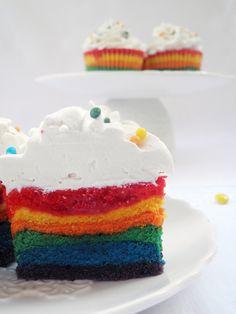 Cupcakes a diario: Cupcakes rayados II o... Rainbow Cupcakes con Swiss Meringue Buttercream de nocilla blanca!!!