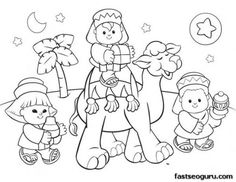 free printable coloring Christmas picture of wise men - Printable Coloring Pages For Kids
