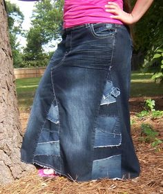 Womans Long Jean Skirt -Sz 20- Lane Bryant. $40.00, via Etsy.