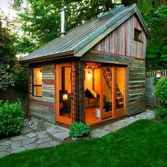 The Backyard House. I wish I had a backyard big enough to build a tiny backyard house. The Backyard House. I wish I had a backyard big enough to build… Future House, Modern Shed, Backyard Retreat, Backyard Office, Backyard Studio, Backyard Cottage, Cozy Backyard, Rustic Backyard, Garden Studio