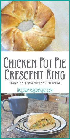 If you love chicken pot pies, you NEED to try the Chicken Pot Pie Crescent Ring. Same comfort food flavor, surrounded by crescent dough. Looks fancy but it isn't! And it's easy! #chickenpotpie #crescents #recipe #easymeals