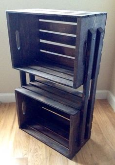 SALE Wooden Crate 3 Shelf Bookcase Shelving Floor Stand - Shelves for Books, DVD's, Storage, Bathroom, Night Stand - Brown on Etsy, $39.00