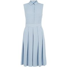 Hobbs Sarah dress (€125) ❤ liked on Polyvore featuring dresses, pastel blue, women, blue collared dress, collar dress, pastel dresses, sleeveless collared dress and blue pleated dress