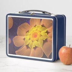 Beautiful Violet & Peach Primrose Fractal Flowers Metal Lunch Box - beauty gifts stylish beautiful cool