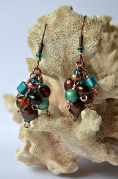 Teal Beaded Cluster Earrings