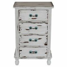 """Showcasing 4 drawers and a weathered finish, this charming chest is perfect for stowing craft essentials in the den or family photo albums in the library.  Product: ChestConstruction Material: Reclaimed woodColor: Antique whiteFeatures: Four drawersDimensions: 34.5"""" H x 22"""" W x 16"""" D"""