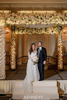 Let us custom design your wedding altar. This incredible beauty and her groom stand beneath our custom Chuppah with satin rusched legs and blushing florals. Photo Credit: The Kenney's