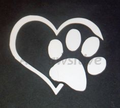 "The heart / paw decal leaves no words needed to describe the love for your dog. Both simple and sweet it says it all for the dog lovers in the world.    Approximately 4"" square, standard white in color. Please contact me if you would like other color options.    Made from quality outdoor vinyl for durability. 
