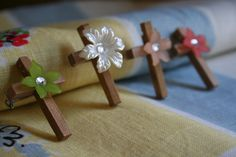 Handmade OOAK Old Wooden Cross Brooch/Pin with by DefaultToLove, ONLY $5.00