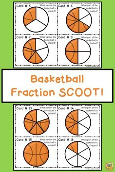 Fraction Basketball Task Cards - Grades Use in a center, with the whole class or in a game of SCOOT! Directions, task cards, and answer sheet included! Fun Math, Math Games, Math Activities, Math Stations, Math Centers, Teaching Math, Creative Teaching, Teaching Ideas, Grade 1