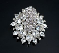 Vintage Rhinestone Fur Clip Big 3D Design by VintageGemz on Etsy, $125.00