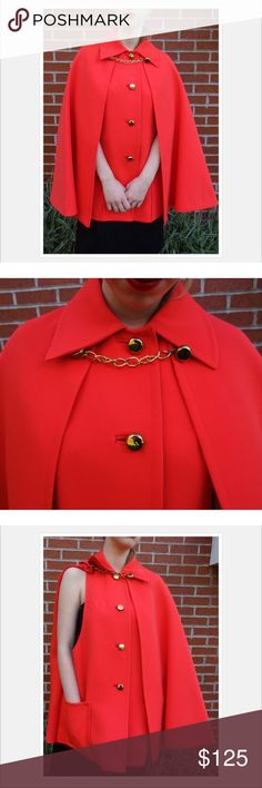 Vintage 60's Coral Cape with Gold Hardware This listing is for a gorgeous women's cape from the 1960's Mod era! So fabulous and true vintage. Love the gold buttons and chain!  The design allows for freedom of movement for your arms (see last pic).  Color: Coral - red/orange Two inside pockets Polyester or Wool Polyester blend coat fabric  Approximate Measurements in Inches Laid Flat: (double the Chest measurement) Shoulder width: 17 Chest: 19 Length From Shoulder: 30 Will fit size S-M…