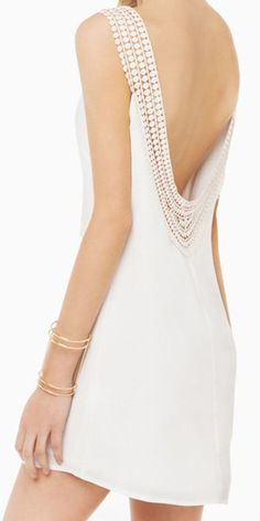 White Disc Trim Open Back Vest Dress