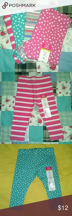 Set of 4 Girls' Leggings New with tags! Set of four (4) Girls' 6M leggings. Assorted colors. Pink and white striped, Aqua blue with white Polka dots, Grey with multicolored stripes, Pink with white Polka dots. Okie Dokie Bottoms Leggings