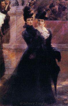 Archduchess Gisela of Austria and Empress Elizabeth. (detail).