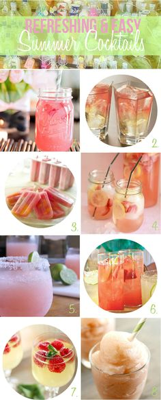 Refreshing and easy summer cocktail recipes via One Stylish Party. A round up of the best spritzers, margaritas, slushies and cocktail popsicles sure to help cool you down on a warm summer day.
