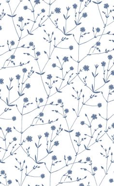 Illalla Blue on White wallpaper by Marimekko