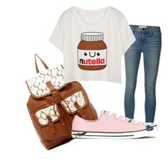 A fashion look from November 2015 featuring white crop tops, skinny jeans and canvas sneakers. Browse and shop related looks. Jeans And Converse, T Shirt And Jeans, Frame Denim, Bowling, Nutella, Shoe Bag, Polyvore, Stuff To Buy, Shirts