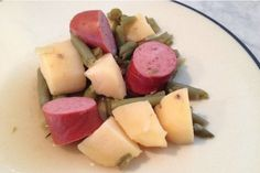 Slow Cooker Smoked Sausage, Green Beans, and Potatoes - ONE of the MOST POPULAR recipes on my site! www.GetCrocked.com