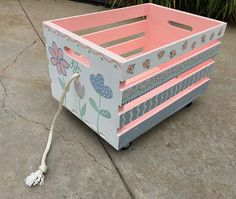 crate toy box, hand painted crate toy storage, pull toy box, kids book storage, kids furniture by babydreamdecor on Etsy Thrift Store Furniture, Recycled Furniture, Kids Storage, Toy Storage, Crate Storage, Storage Cart, Baby Girl Room Decor, Kids Bedroom Furniture, Garden Furniture
