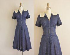 navy blue swiss dot cotton dress / 50s / by simplicityisbliss, $78.00