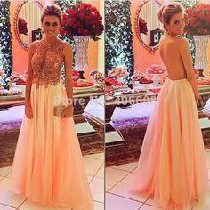 2014 Free Shipping Vestidos De Fiesta New Arrival Peach Women Gown Applique Chiffon Long Open Back Formal Evening Dress $138.00