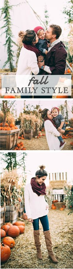 "Beckam would try to pick up every pumpkin accompanied by a grunt if it was too big or ""ohhhh"" if… Fall Family Portraits, Fall Family Pictures, Family Posing, Fall Photos, Fall Pics, Christmas Pictures, Fall Family Outfits, Family Picture Outfits, Outfits Tipps"