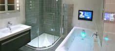 Bathrooms with large shower and tv