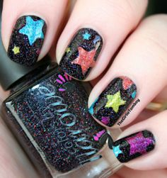 The Girlie Tomboy: Colors by Llarowe Stars using Single Ladies, Young Turks, Woodstock, Orange Crush & Sparkles Are A Girl's Best Friend and star nail vinyls