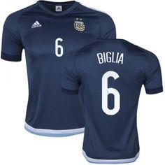 Argentina 2016 Biglia 6 Borte Drakt Kortermet  billige  fotballdrakter a9b6212e14f78