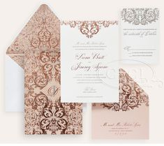 Luxury Wedding Invitations by Ceci New York - Our Muse - Romantic Rose Gold Wedding - Be inspired by Dana  Jimmy's romantic rose gold wedding at the Pierre in NYC - wedding, rose gold, invitation, foil stamping, velvet, pewter, silver, cream, ivory, letterpress printing, custom envelope liner, monogram, luxury invitations
