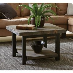 "Alaterre Pomona metal & reclaimed wood square coffee table (27"" wide x 27"" deep x 18"" high)"