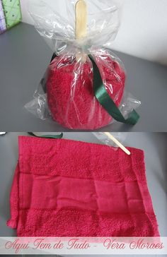 Presente que Cici levou para o encontro: toalha enrolada tipo mação do amor. AMEI MUITO!!! veja mais no post de  -VERA MORAES