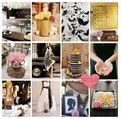 pink, yellow & black wedding inspirational board... Love this!!!