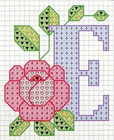 Rose alphabet E Cross Stitch Letters, Cross Stitch Rose, Cross Stitch Flowers, Cross Stitch Charts, Cross Stitch Designs, Stitch Patterns, Embroidery Alphabet, Embroidery Art, Cross Stitch Embroidery