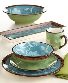 Pfaltzgraff Dinnerware Patio Garden Collection - Casual Dinnerware - Dining \u0026 Entertaining - Macy\u0027s & Pfaltzgraff Tahoe Dinnerware Set 32 Piece Service for 8 ...