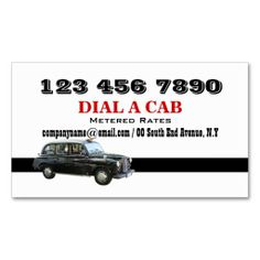 Taxi cab british london black business card template. This is a fully customizable business card and available on several paper types for your needs. You can upload your own image or use the image as is. Just click this template to get started!