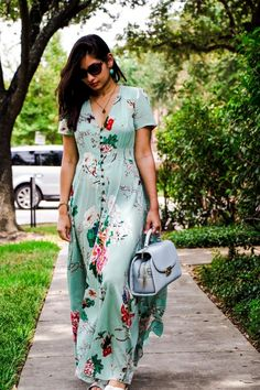 Milumia Women's Button Up Split Floral Print Flowy Party Maxi Dress Navy S Modest Outfits, Dress Outfits, Casual Dresses, Fashion Dresses, Summer Dresses, Maxi Dress With Sleeves, The Dress, Garden Dress, Kurti Designs Party Wear