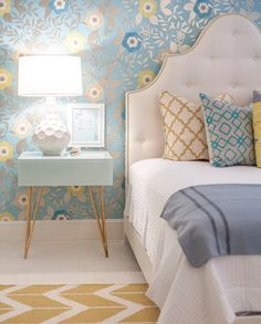 Lucy and Company - girl's rooms - rug on carpet, rug over carpet, blue and yellow bedroom, blue and yellow girls room, arched upholstered headboard