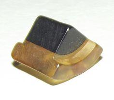 Vintage Bakelite button Apple Juice & Black Shape
