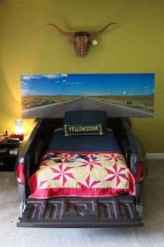 road trip themed kids space with truck bed - from prairie hive fall issue Car Part Furniture, Automotive Furniture, Truck Bed, Cool Beds, Kid Spaces, Oeuvre D'art, Boy Room, Home Projects, Kids Bedroom