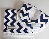 Baby Bib and Burp Cloth, Chevron $18