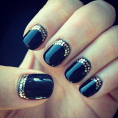 Dark nails are my fave!! Great idea with simple pop of sparkle on top of the nail polish. Looks simply done too. #undonestar