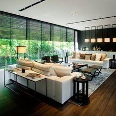 アジアと西洋を融合したデザインテイストのリビングです。落ち着いた優雅さが漂います。基本色は白、ベージュ、黒です。 Asian and western taste living room.