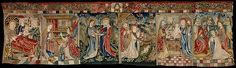 Scenes from the Life of the Virgin Date: ca. 1500 Geography: Made in Strasbourg, Alsace, present-day France Culture: Upper Rhenish Medium: Linen warp; wool, linen, silk, silver, and gilt wefts; wool pile yarns Dimensions: 41 x 138 in. (104.1 x 350.5 cm) Classification: Textiles-Tapestries