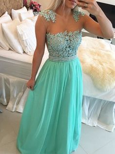 Buy Sexy A-Line Floor-Length Blue Prom Dress With Pearls 2016 Prom Dresses under US$ 159.99 only in SimpleDress.