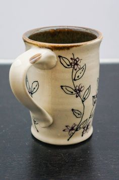 Pottery Flower Coffee Mug - White Pottery Mug - Ceramic Coffee Mug - Gift for Her - Gift for Him - House Warming Gift - Wedding Gift - Back to School Gift