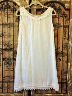 Papillon White Long Cotton Sleeveless Dress Gown Boho Lagenlook M #Papillon #Gowns