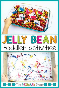 These jelly bean activities for toddlers were so much fun! This Toddler School Jelly Bean unit is filled with fine motor Gross Motor Activities, Literacy Activities, Preschool Activities, Preschool Learning, Science Projects For Kids, Kids Crafts, Art Projects, Lesson Plans For Toddlers, Toddler School