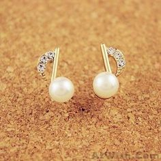 Wow~ Awesome Lady Inlay Diamond Pearl Music Note Gilded Earrings! It only $11.99 at www.AtWish.com! I like it so much<3<3!